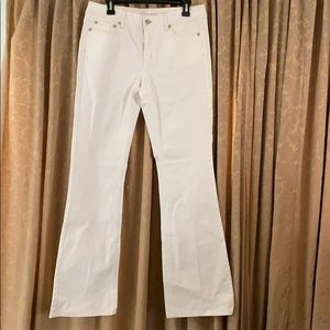White jeans with silver stitching